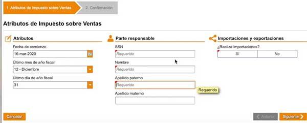 atributos de impuesto sobre ventas registro de comerciante