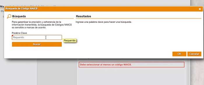 codigo NAICS para el registro de comerciante