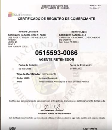 documento del registro de comerciante para suri hacienda de formas 480