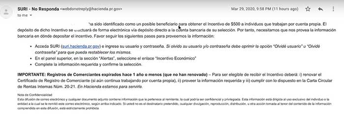 incentivo económico de suri hacienda por coronavirus covid 19