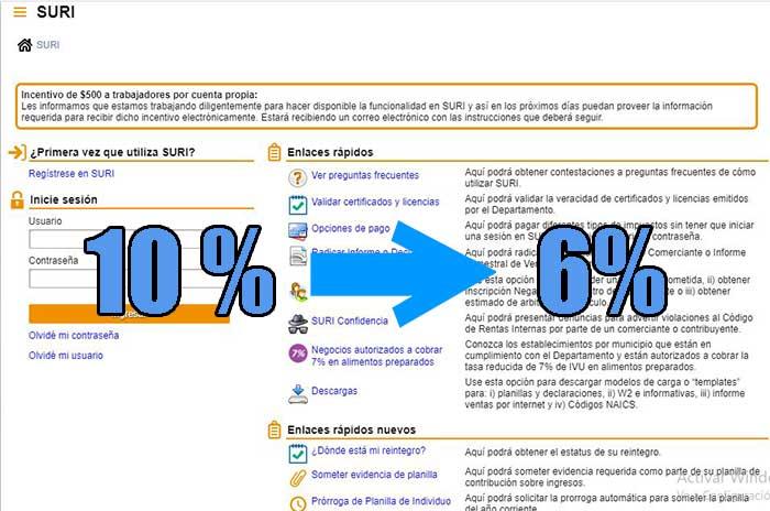 retencion del 10% al 6% con el sistema suri