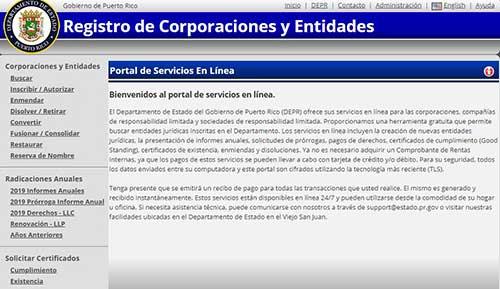 registro de corporaciones del departamente de estado