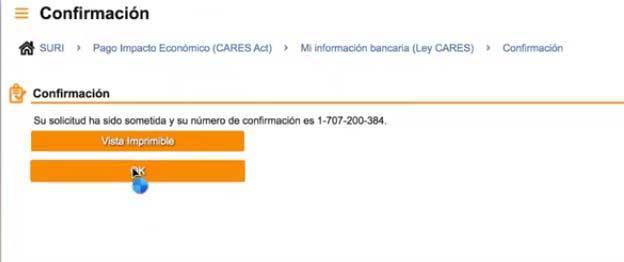 confirmacion de registro cuenta bancaria suri hacienda