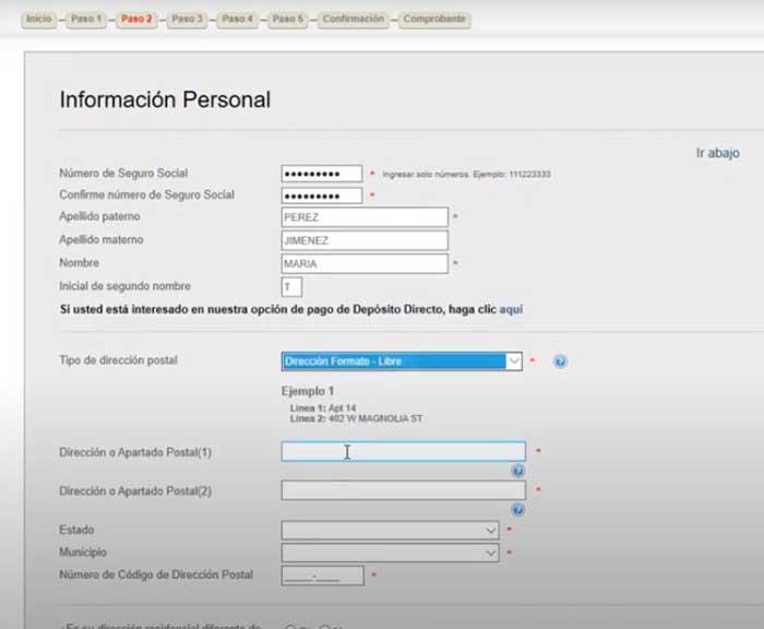 informacion personal para solicitud de empleo en puerto rico