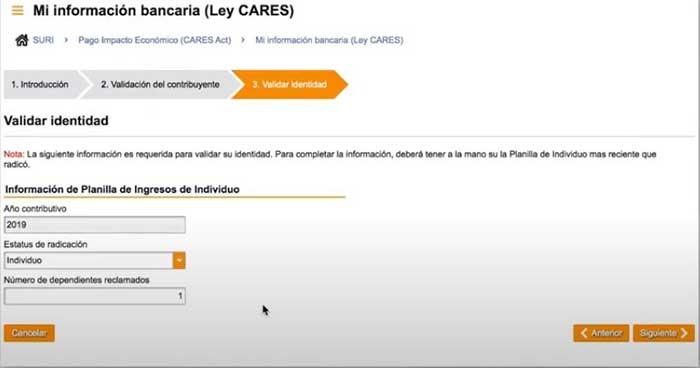 validar identidad para registrar cuenta de banco en suri hacienda