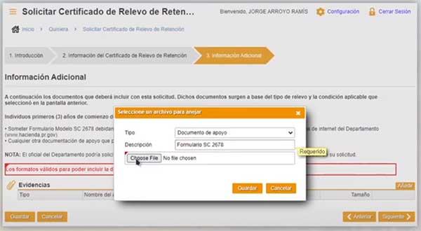 informacion adicional con el formulario sc 2678 en suri hacienda para certificado de relevo de retencion