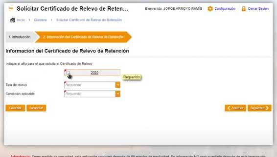 informacion del certificado del relevo de retencion en suri hacienda
