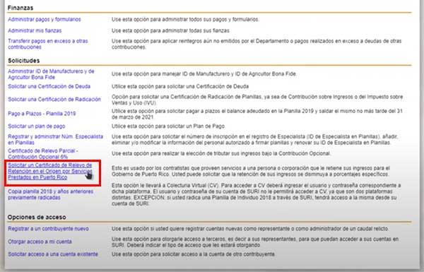solicitar un certificado de relevo de retencion en el origen por servicios prestados en puerto rico en suri hacienda