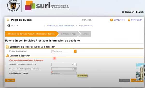 pago de cuenta en suri hacienda en retencion por servicios prestados informacion de deposito